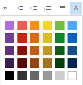 """القائمة """"لون الخط"""" مفتوحة في Outlook علي الويب."""