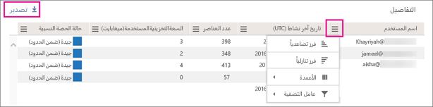 استخدم عامل التصفية لفرز قائمة المستخدمين.