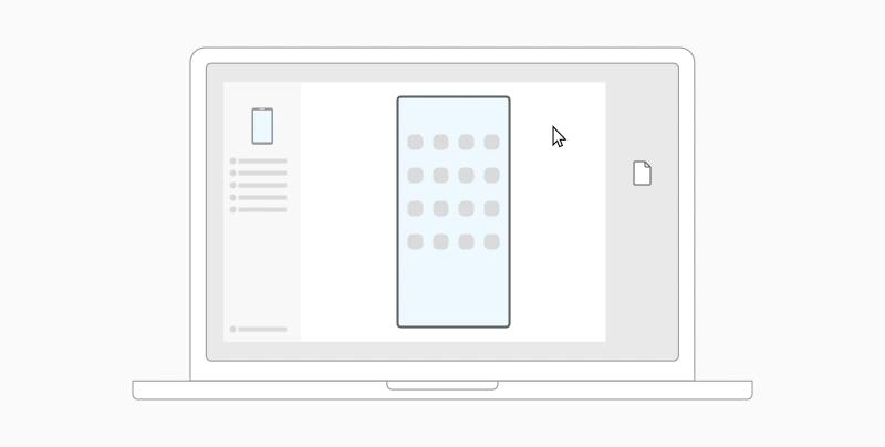 درس توضيحي برسوم متحركة يوضح كيفية سحب ملفات من الكمبيوتر الشخصي الخاص بك إلى جهاز Android.