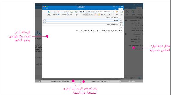 طريقه عرض «ملء الشاشة» ورسالة نشطة وعلبة الوارد وعلامات التبويب في الأدوات بالأسفل