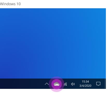 موقع OneDrive على شريط المهام في Windows 10.