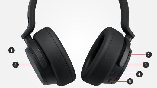 الاستدعاءات للأزرار والأوادم على Surface Headphones