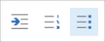 إضافة قائمة نقطية في Outlook على الويب.