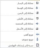 محاذاة خيارات العنصر في Publisher 2010