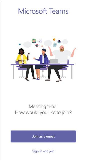الزر الخاص بالانضمام إلى الاجتماع كضيف