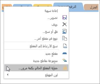 لقطة شاشة حول كيفية حماية مقطع في OneNote 2016 بكلمة مرور.