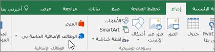 """على علامة التبويب """"إدراج"""" في الشريط، ستعثر على مجموعة الوظائف الإضافية لإدارة وظائف Excel الإضافية"""