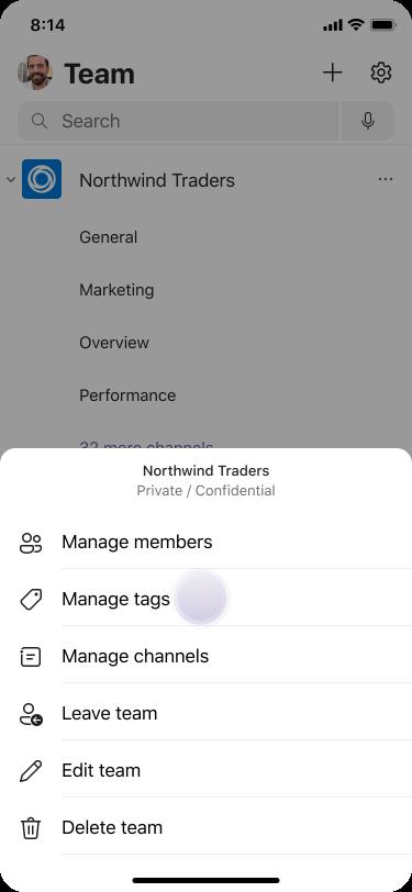إدارة العلامات في Teams باستخدام iOS