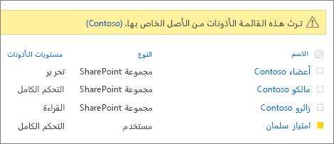 استطلاع الاذونات ل# المستخدمين و# المجموعات
