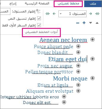 """صورة لبعض أدوات المخطط التفصيلي على القائمة """"تخطيط تفصيلي"""" مع مخطط تفصيلي نموذجي بتنسيق نص lorem ipsum"""