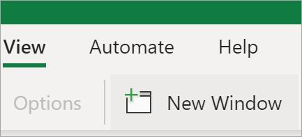 """صورة تعرض خيار """"نافذة جديدة"""" في Excel"""