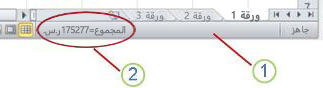 شريط المعلومات في Excel