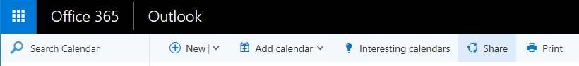 """لقطة شاشة للزر """"مشاركة"""" على صفحة Outlook"""