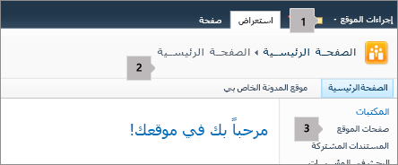 SharePoint 2010 الزاويه العلويه اليمني من الشاشه.