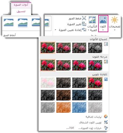 """قائمة زر """"اللون"""" مفتوحة من """"أدوات الصورة"""" ضمن علامة التبويب """"تنسيق"""""""
