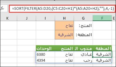 """استخدم FILTER مع الدالة SORT لإرجاع كل القيم في نطاق الصفيف (A5:D20) التي تحتوي على """"تفاح"""" AND وأيضاً موجودة في المنطقة """"شرق""""، ثم قم بفرز الوحدات بترتيب تنازلي."""