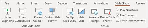 علامة التبويب عرض الشرائح في PowerPoint.