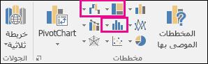 أيقونات لإدراج مخططات تسلسل هيكلي أو مخططات انحدارية أو مخططات أسهم أو مخططات إحصائية في Excel 2016 for Windows