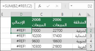 مثال لخطأ !REF# تم حدوثه بسبب حذف عمود.