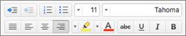 أزرار التنسيق في Outlook for Mac