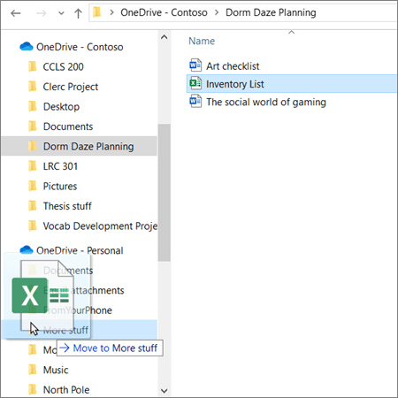 """الوصول إلى السحب والإفلات من حساب تعليمي في OneDrive إلى حساب OneDrive شخصي في """"مستكشف الملفات"""""""