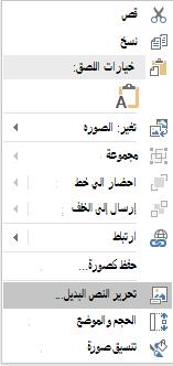 """القائمة """"النص البديل لتحرير PowerPoint Win32"""" للصور"""