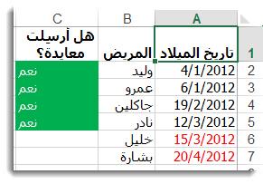 تنسيق شرطي نموذجي في Excel