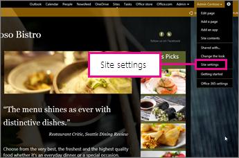في منشئ موقع ويب الخاص بـ GoDaddy، اختيار إعدادات الموقع