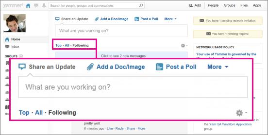 لقطة شاشة لموقع Yammer على ويب مع مربع وردي يميّز تبديل طرق العرض Top (أعلى)، وAll (الكل)، وFollowing (متابعة)
