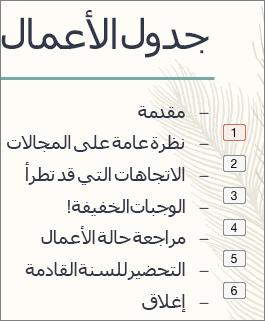 يعرض كل رمز نقطي في القائمة ترتيب الحركات في مربع صغير موجود على اليمين