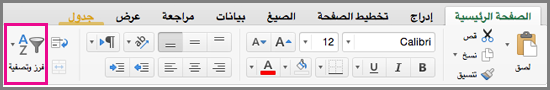 """الأمر """"فرز وتصفية"""" في Excel for Mac"""
