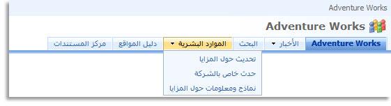 القائمة المنسدلة في شريط الارتباطات العلوي التي تعرض المواقع الفرعية من الموقع الحالي