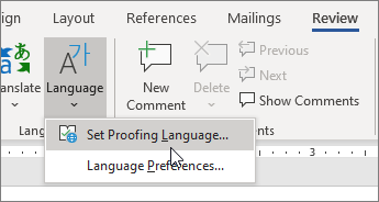 """اختر """"تعيين لغة التدقيق"""" من القائمة """"اللغة"""" في علامة التبويب """"مراجعة""""."""