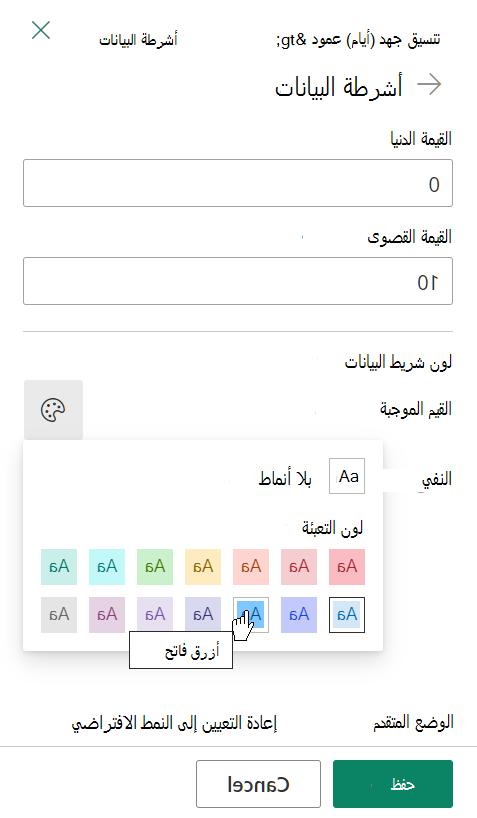 خيارات تحرير القالب لأشرطه البيانات الخاصة بتنسيق عمود SharePoint
