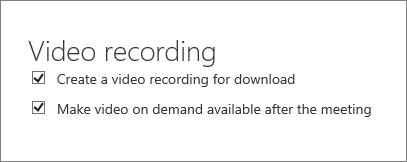 """لقطة شاشة لخانة الاختيار """"تمكين تسجيل فيديو الاجتماع"""" على الصفحة """"تفاصيل الاجتماع"""". ويكون هذا الخيار محدداً بشكل افتراضي."""