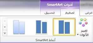 """المجموعة أنماط SmartArt ضمن علامة التبويب """"تصميم"""" أسفل أدوات SmartArt"""