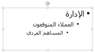 الضغط على Tab لإضافة مسافة بادئة إلى رمز نقطي فرعي