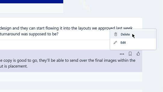 تحرير رسالة أو حذفها في الفرق