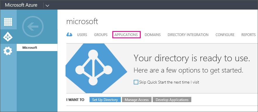 """عرض قائمة Azure AD مع تحديد """"التطبيقات""""."""