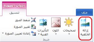 """الزر """"إزالة الخلفية"""" على علامة التبويب """"تنسيق"""" ضمن """"أدوات الصورة"""" أو الشريط في Office 2010"""