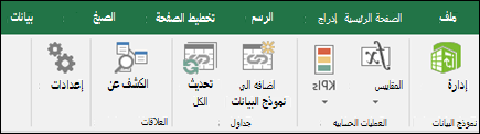 قائمه power Pivot علي شريط Excel