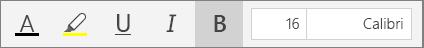 """أزرار تنسيق النص في شريط قائمة """"الصفحة الرئيسية"""" في OneNote for Windows 10."""