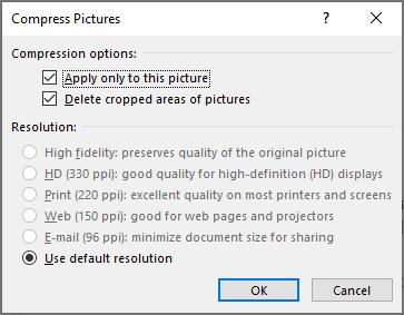 """خيارات """"ضغط الصور"""""""