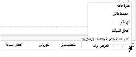 حدد زر قائمه الصفحات للاطلاع علي قائمه كامله بالصفحات الموجودة في ملف الرسم الحالي وتحديدها.