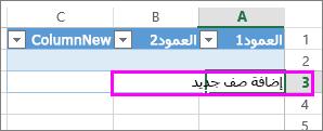 إضافة صف جدول جديد بكتابة البيانات في الصف الموجود تحت صف الجدول الأخير