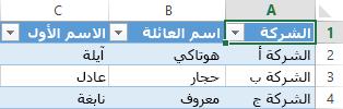 يعرض جدول بيانات Excel ثلاثة سجلات من البيانات في ثلاثة أعمدة