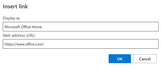 إدراج ارتباط في Outlook.