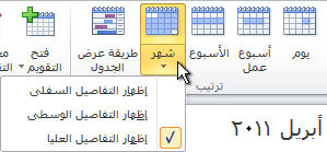 تغيير خيارات تفاصيل طريقة عرض تقويم الشهر