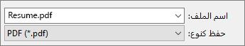 اختر PDF كنوع في مربع الحفظ.