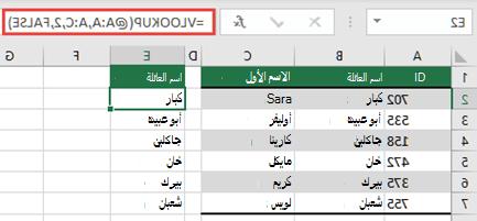استخدم عامل التشغيل @، ثم انسخ لأسفل: =VLOOKUP(@A:A,A:C,2,FALSE). يعمل نمط المرجع هذا في الجداول، ولكنه لن يرجع صفيفا ديناميكيا.